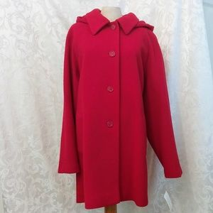 Beautiful Red Pea Coat with Button-off Hood